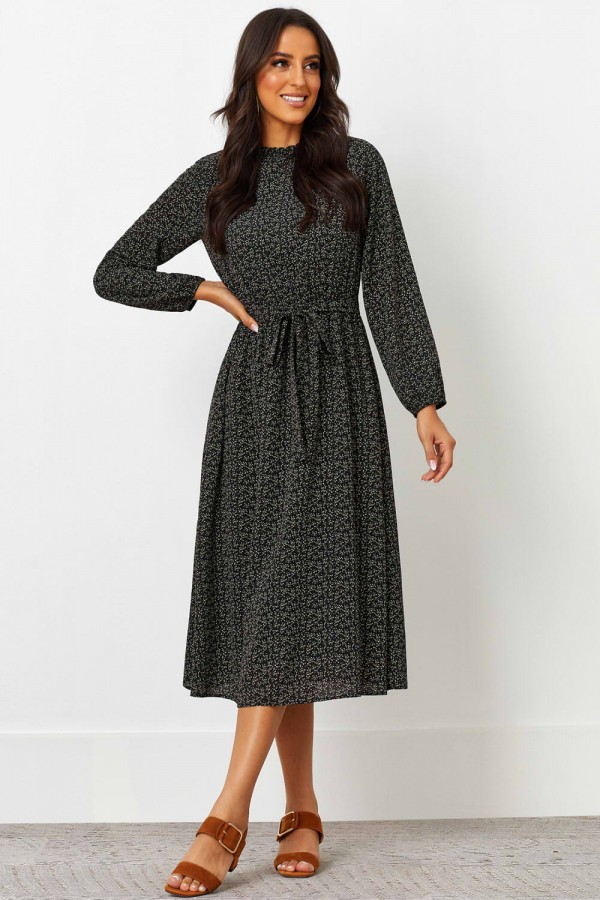 Round Shirred Neckline Long Sleeves Polyester Midi Dress