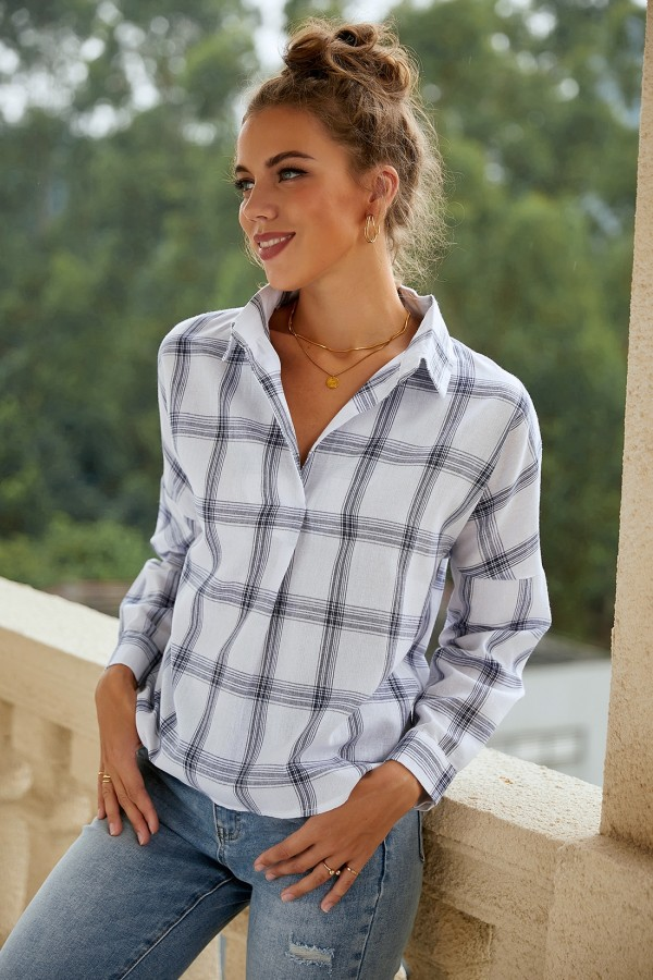 Collared Long Sleeve Loose Plaid Blouse