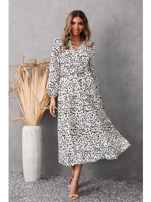 V Neck Long Sleeve Tie Waist Dotted Tiered Maxi Dress