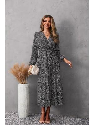 V Neck Long Sleeve Tie Waist Elegant Maxi Dress