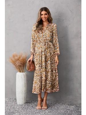 V Neck Long Sleeve Tie Waist Tiered Midi Dress