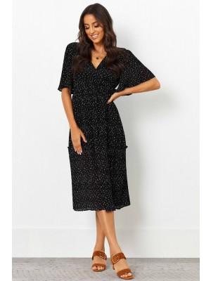 V Neckline Elasticised Waist Half Sleeves Midi Dress