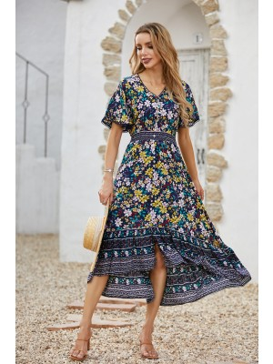 V Neck Short Sleeve Vintage Boho Style Floral Midi Dress