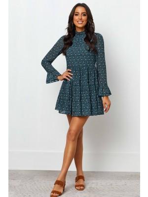 High Neckline Long Sleeves Floral Print Short Dress