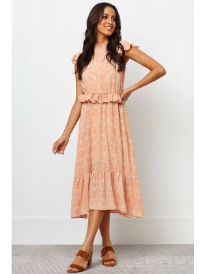 High Elasticised Neckline Short Ruffle Sleeves Maxi Dress