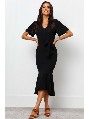 V Neckline Short Sleeves Detachable Waist Tie Maxi Dress