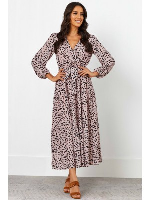 V Neckline Long Sleeves Elasticised Waist Maxi Dress