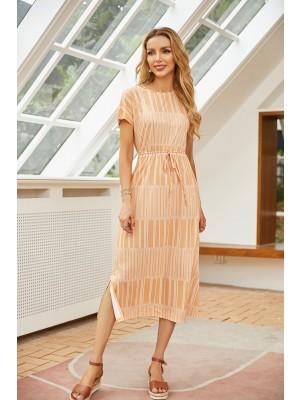 Round Neck Short Sleeves Stripe Midi Dress
