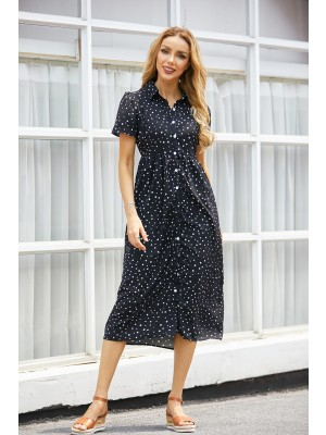 Polka Dot Button Down Short Sleeves Midi Dress