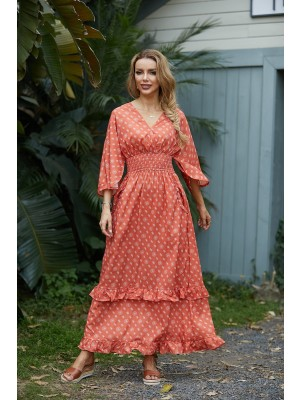 Ruffles V Neck Long Sleeve Gathered Elastic Waist Dress with Pockets