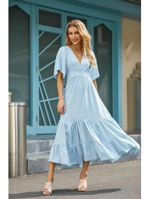V Neck Half Sleeves Tiered Blue Midi Dress
