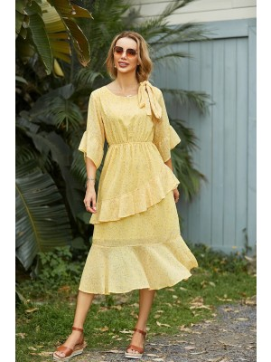 Round Neck Bell Sleeves Tiered Yellow Floral Dress