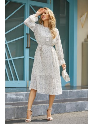 Round Neck Long Sleeves Tie Waist Chiffon Midi Dress