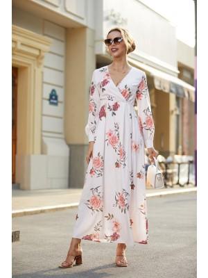 V Neck Long Sleeves Floral Print Maxi Dress