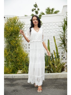Short Sleeves V Neck Lace Solid Maxi Dress