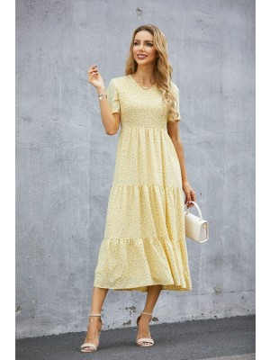 V Neck Short Sleeves Yellow Floral Print Tiered Midi Dress