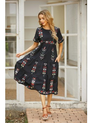 Round Neck Short Sleeves Floral Embroidered Tiered Midi Dress