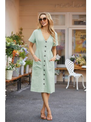 Casual V Neck Short Sleeves Button Down Midi Dress with Pockets