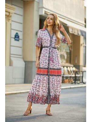 Bohemian Style V Neck Half Sleeves Button Down Maxi Dress