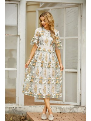 Round Neck Half Sleeves Floral Embroidery Midi Dress