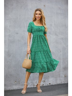 Square Neck Short Sleeves Floral Tiered Midi Dress