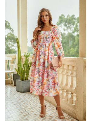 Square Neck Long Sleeve Mixed Floral Smocked Midi Dress