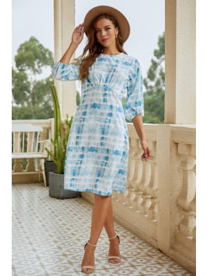 Round Neck Half Sleeve Casual Midi Dress