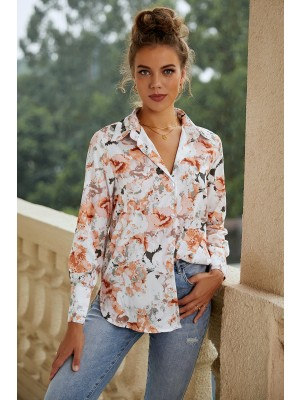 Collared Long Sleeve Button Down Floral Blouse