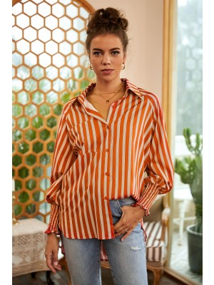 Collared Long Sleeve Button Down Stripe Shirt with Pocket