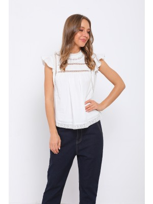 White Short Sleeved Round Neck Cotton Tops