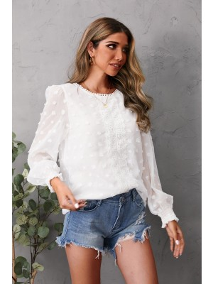 Round Neck Long Sleeve Embroidery Solid Blouse