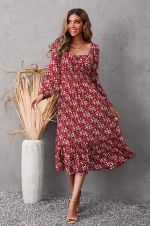 Square Neck Long Sleeve Smocked Floral Midi Dress