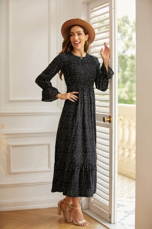 Round Neck Long Sleeve Elegant Polka Dot Maxi Dress