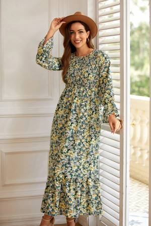 Round Neck Long Sleeve Smocked Floral Maxi Dress