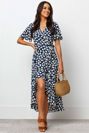 V Neckline Half Sleeves Elastic Tie Waist Midi Dress