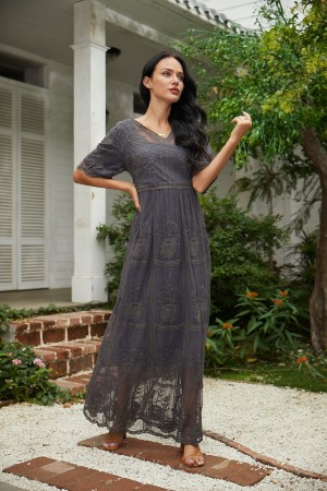 V Neck Half Sleeves Floral Maxi Dress
