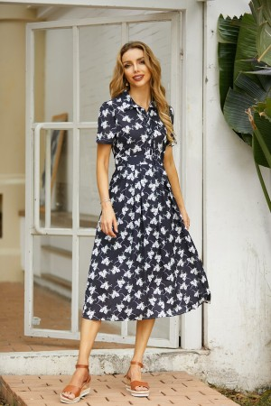 Floral Print Short Sleeves Black Midi Dress