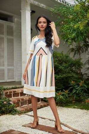 Round Neck Short Sleeve Stripe Knee Length Dress
