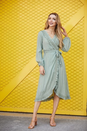 V Neck Long Sleeves Ruffle Tie Waist Midi Dress