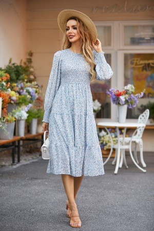 Round Neck Long Sleeves Tiered Floral Midi Dress