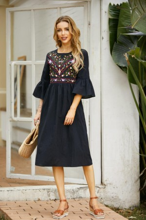 Bell Sleeves Round Neck Black Embroidery Midi Dress