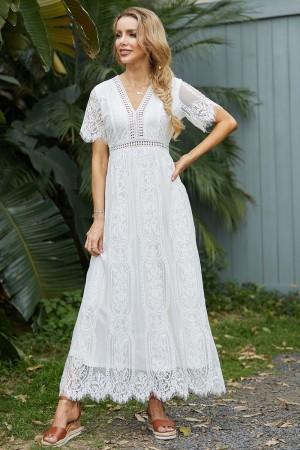 Short Sleeves V Neck Lace White Maxi Dress