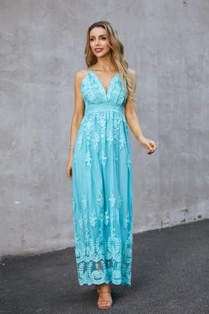 Plunge Neck Sleeveless Lace Open Back Maxi Dress