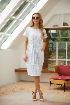 Round Neck Short Sleeve Tie Waist Stripe Dress with Pockets