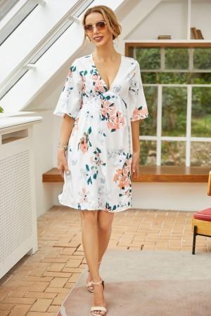 V Neck Half Sleeves White Floral Print Mini Dress