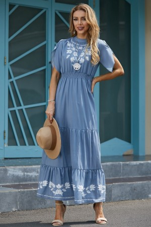 High Neck Puff Sleeves Elastic Waist Tiered Maxi Dress
