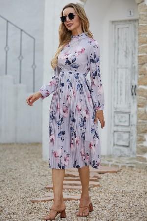High Neck Long Sleeves Lilac Floral Print Midi Dress