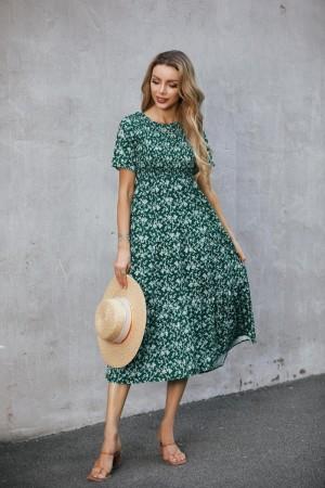 Round Neck Short Sleeves Smocked Midi Dress