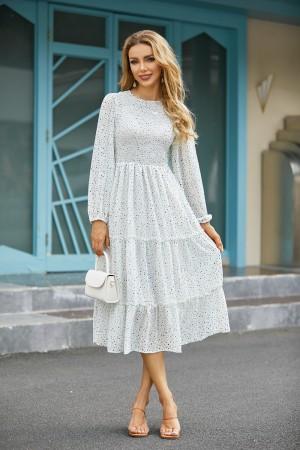 Long Sleeves Round Neck Polka Dot Print Tiered Midi Dress