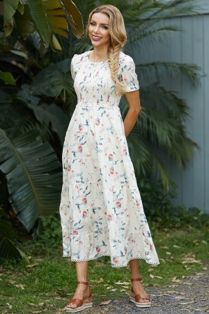 Round Neck Short Sleeves Floral Maxi Dress